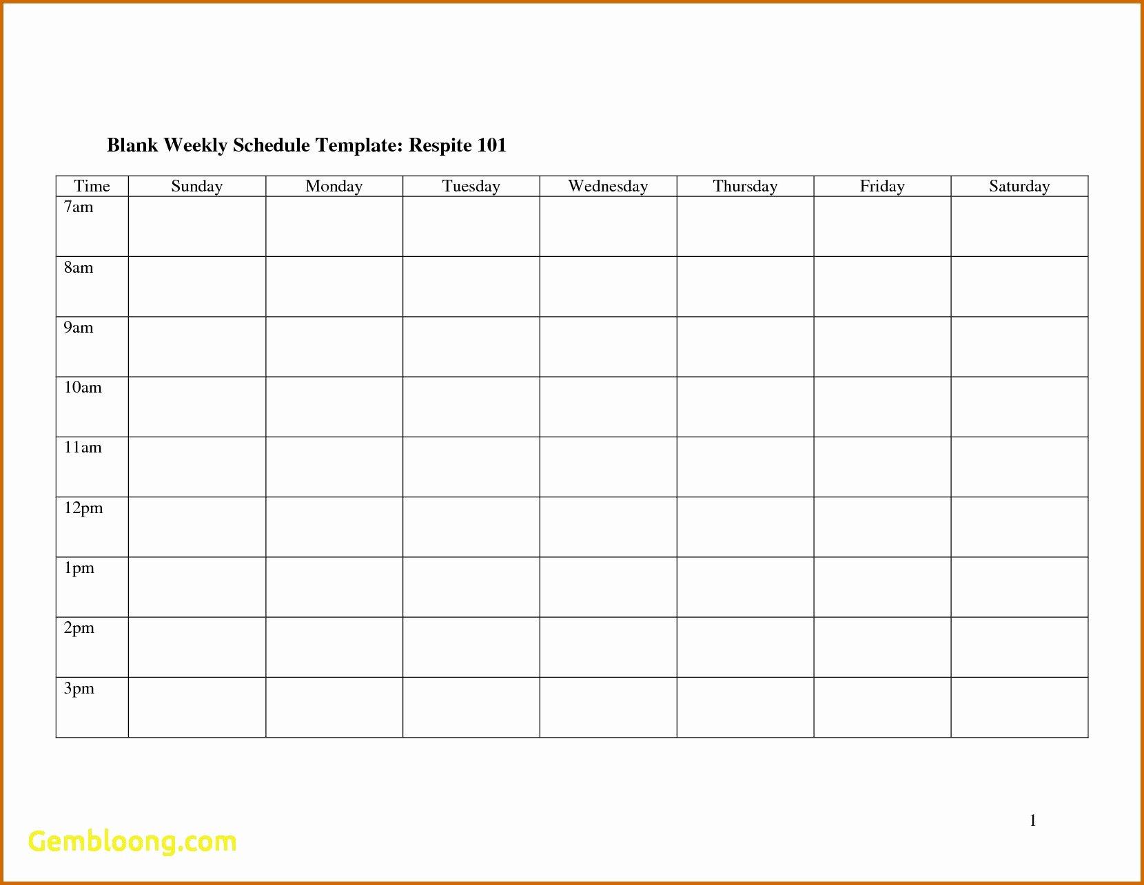 blank work schedule