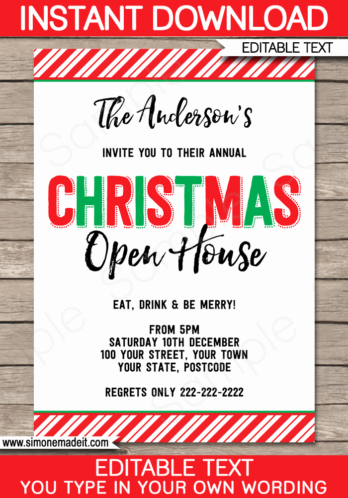 Free Open House Invitation Template Best Of Printable Christmas Party Invitations