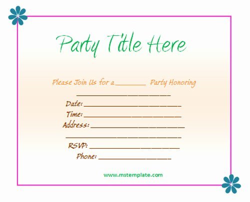 Free Party Invitation Template Word Lovely Free Party Invitation Templates