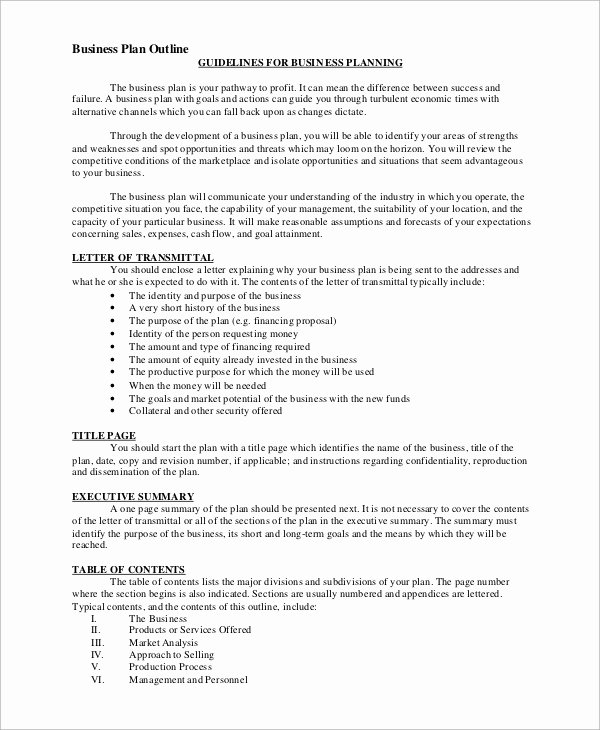 Free Printable Business Plan Template Fresh Sample Business Plan Outline 21 Examples In Word Pdf