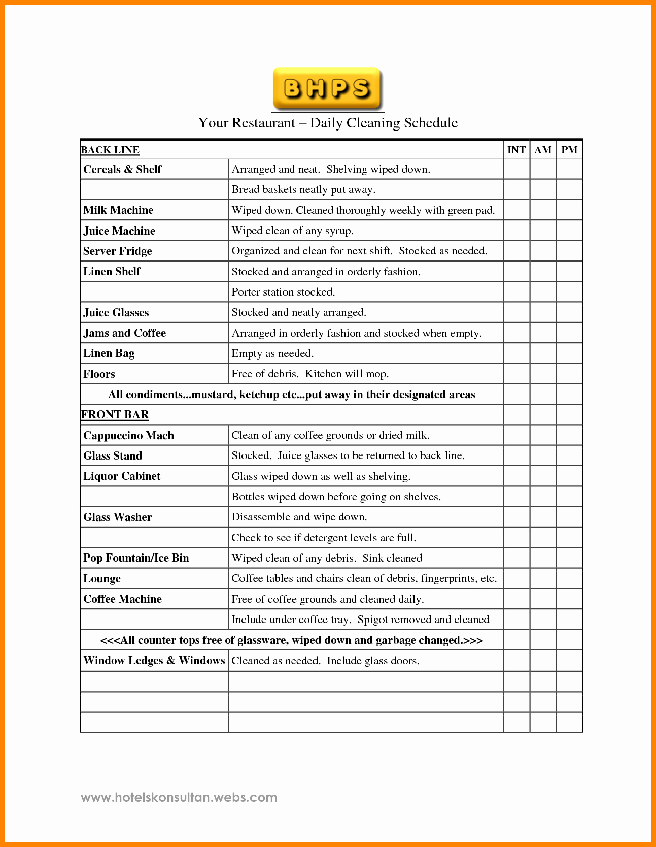 Free Restaurant Schedule Template Awesome 9 Restaurant Cleaning Checklist