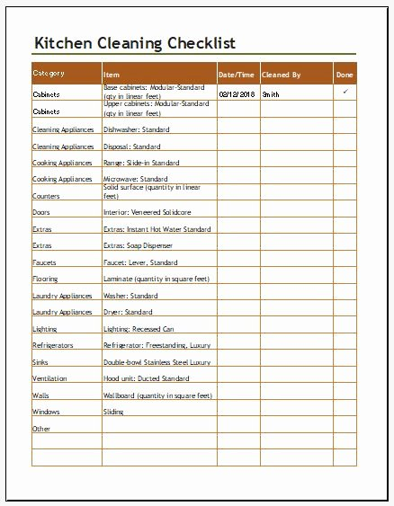 Free Restaurant Schedule Template Lovely Kitchen Cleaning Checklist Template for Excel