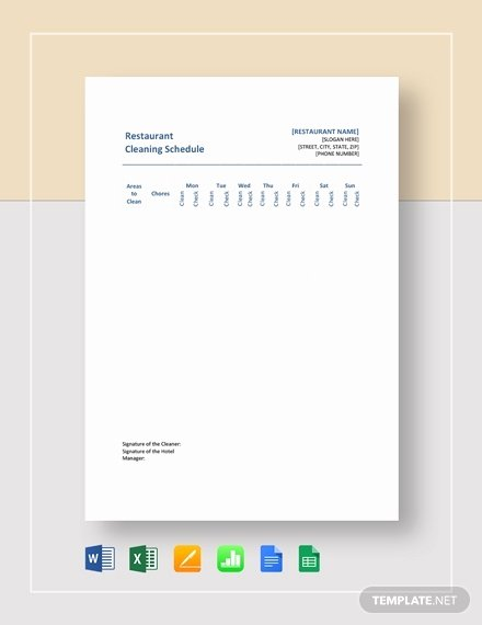 Free Restaurant Schedule Template Lovely Restaurant Cleaning Schedule Templates 14 Free Word Pdf