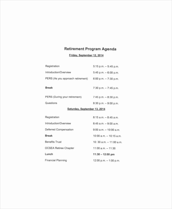 Free Retirement Party Program Template Awesome Free 31 Agenda Templates & Examples In Pdf Doc