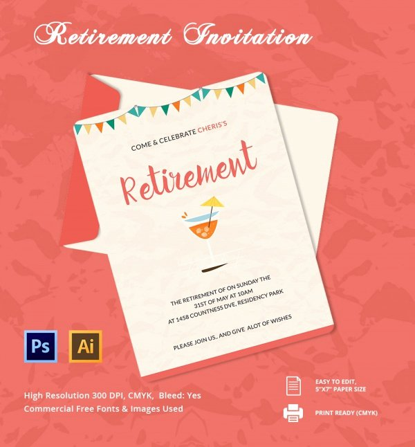 Free Retirement Party Program Template Best Of Free 17 Retirement Party Invitations In Illustrator