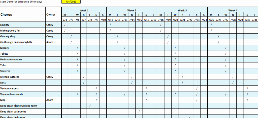 Free School Master Schedule Template Best Of 6 Free Cleaning Schedule Templates In Ms Word and Ms Excel