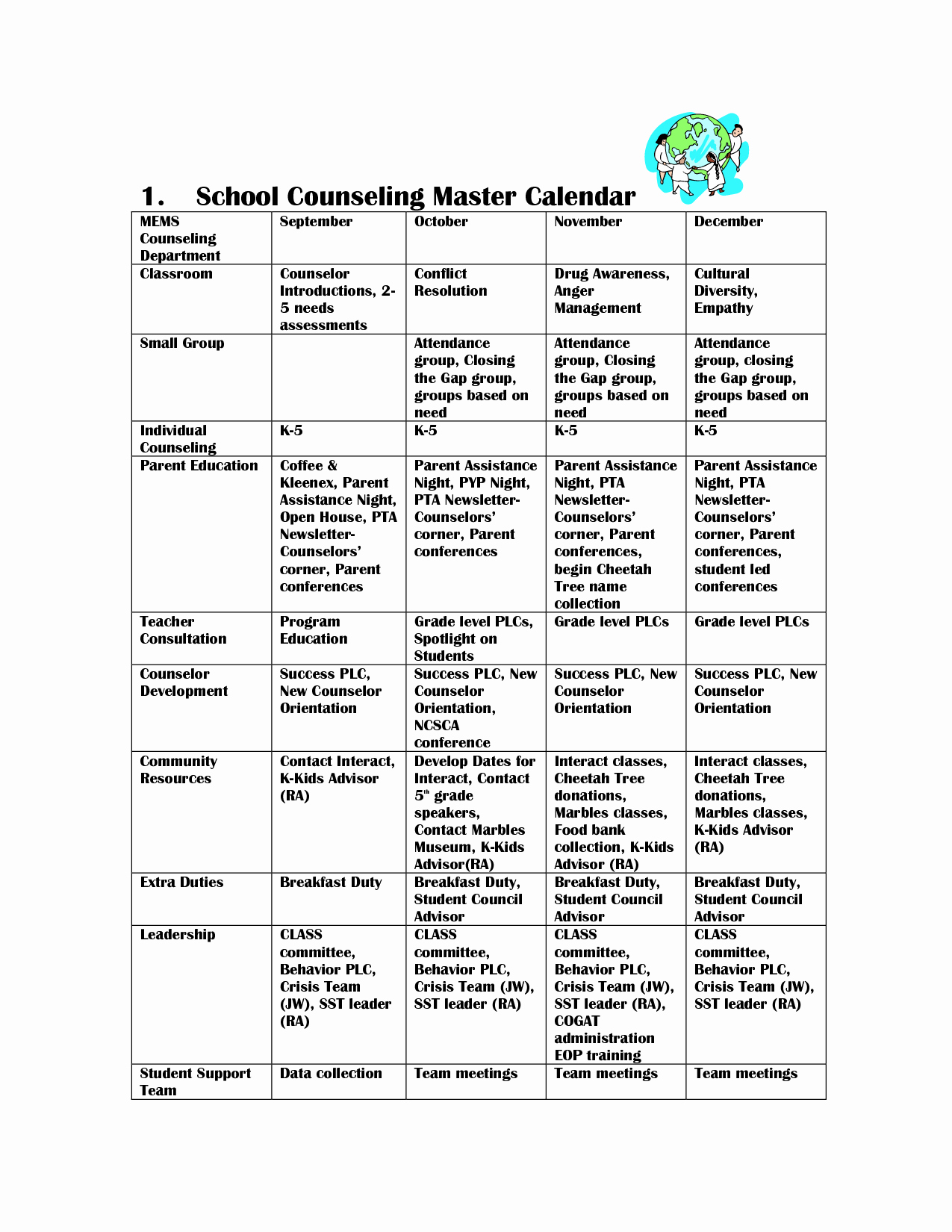 Free School Master Schedule Template Luxury Scope Of Work Template School Counseling