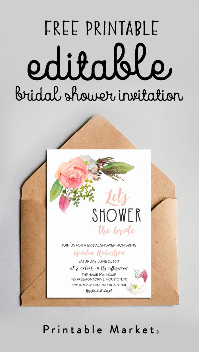 Free Shower Invitation Template Best Of Free Editable Bridal Shower Invitation Watercolor Flowers