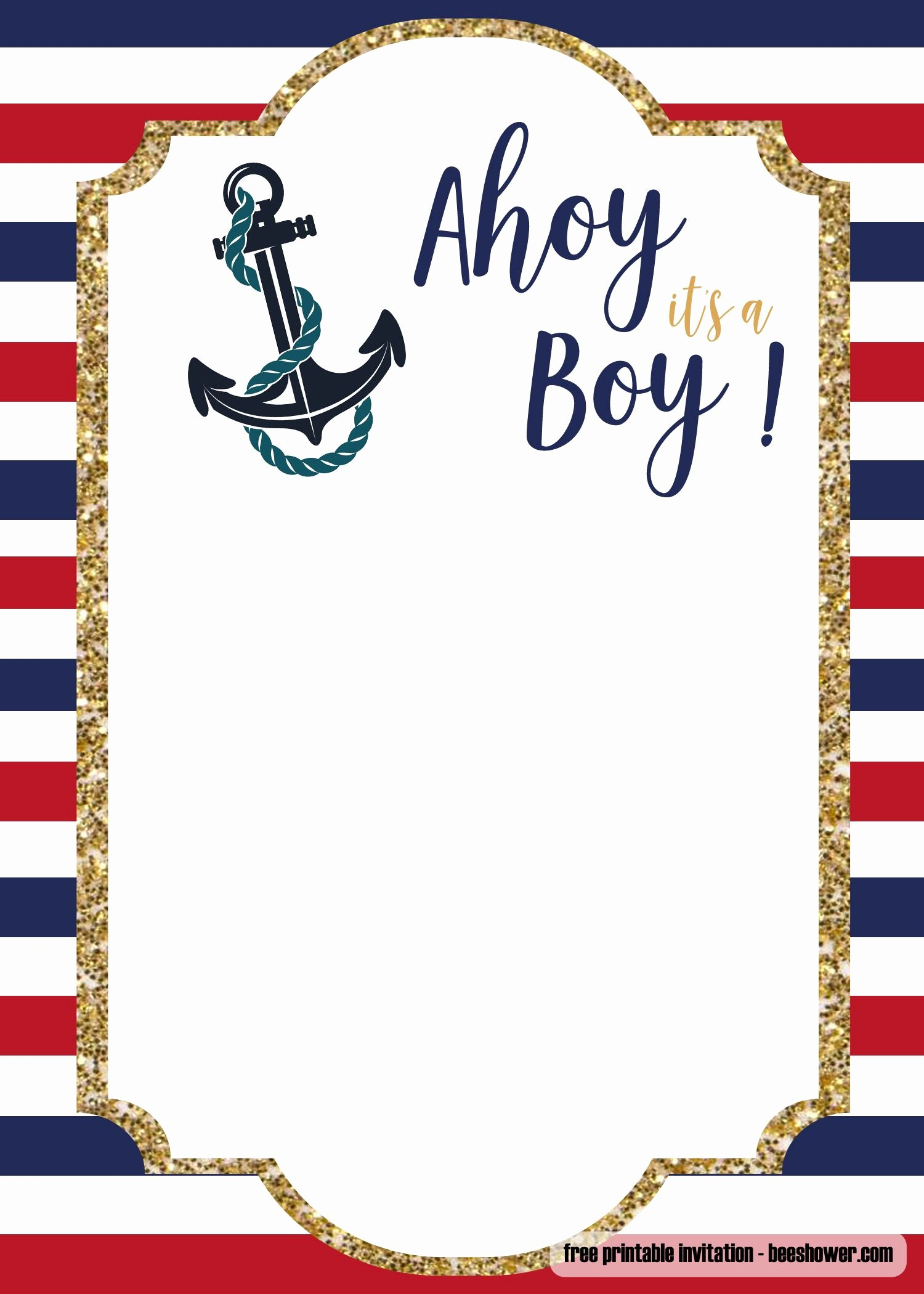 Free Shower Invitation Template Elegant Free Nautical Baby Shower Invitations