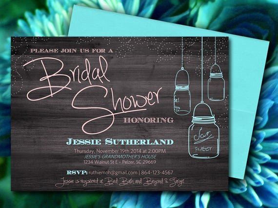 Free Shower Invitation Template Elegant Mason Jar Wood Bridal Shower Invitation Rustic Wedding Shower