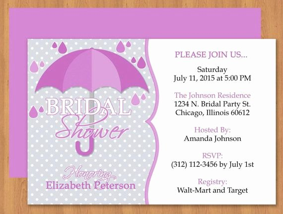 Free Shower Invitation Template Fresh Purple Umbrella Bridal Shower Invitation Editable