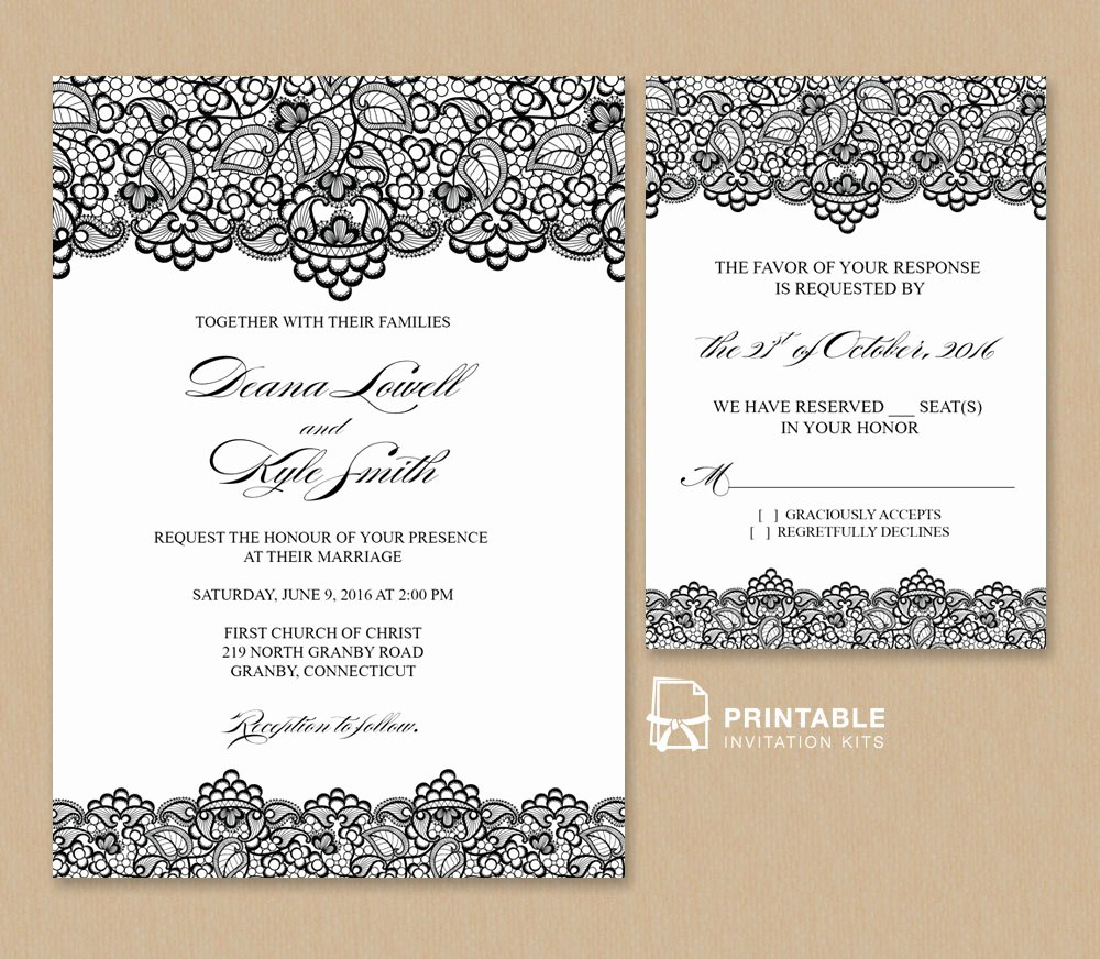 Free Wedding Invitation Template Lovely Black Lace Vintage Wedding Invitation and Rsvp ← Wedding