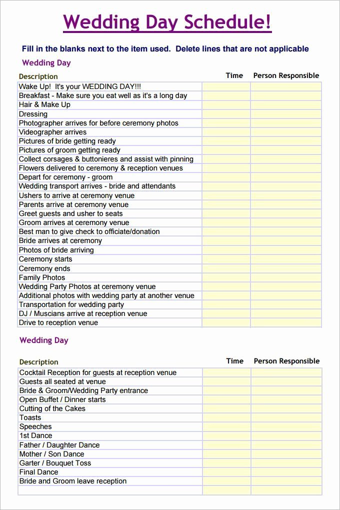 Free Wedding Plan Template New Wedding Schedule Template – 25 Free Word Excel Pdf Psd