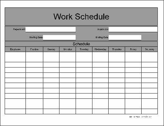 Free Weekly Work Schedule Template Awesome Free Wide Row Weekly Work Schedule From formville