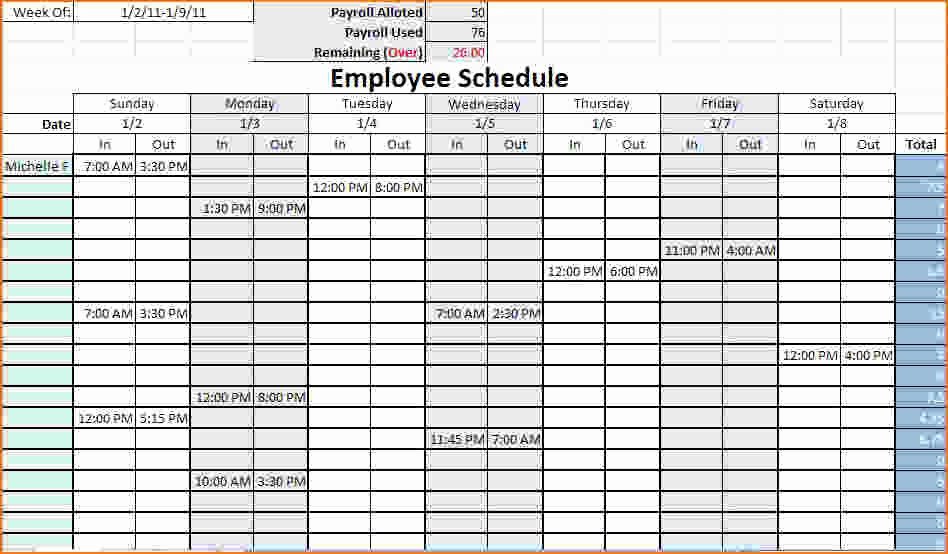 Free Weekly Work Schedule Template Beautiful 4 Work Schedule Template Excel
