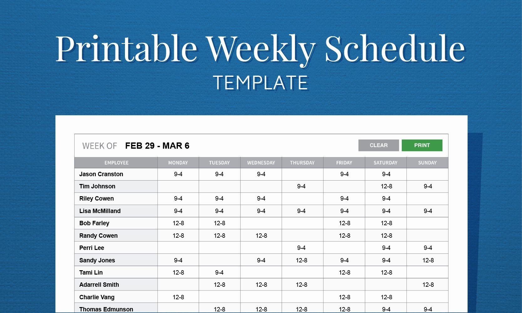 Free Weekly Work Schedule Template Luxury Job Scheduling Spreadsheet Spreadsheet Downloa Job Shop