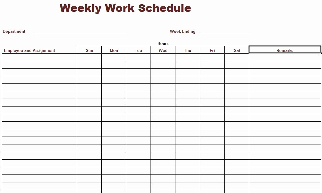 Free Weekly Work Schedule Template New Printable Work Schedule form Driverlayer Search Engine