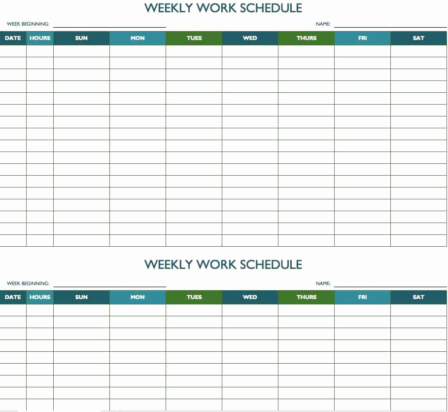 Free Weekly Work Schedule Template Unique Free Weekly Schedule Templates for Excel Smartsheet