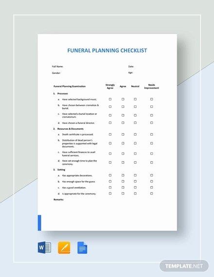 Funeral Planning Checklist Template Elegant Funeral Checklist Template 6 Word Psd format Download