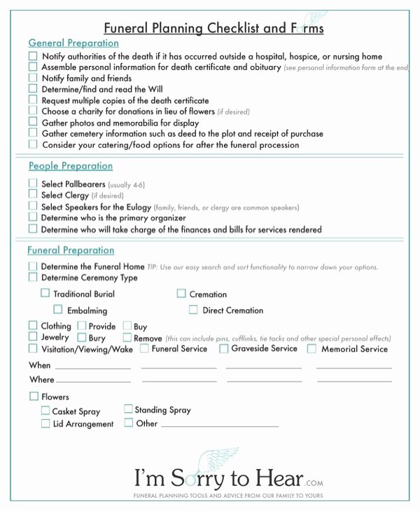 Funeral Planning Checklist Template New Download Funeral Planning Checklist and forms for Free