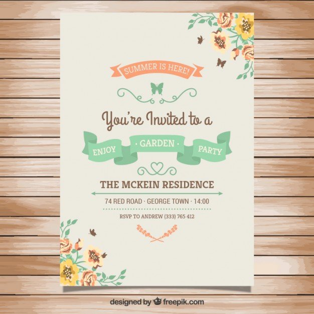 Garden Party Invitation Template Beautiful Garden Party Invitation In Vintage Style Vector