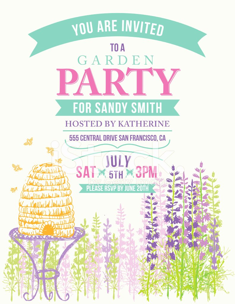 Garden Party Invitation Template Beautiful Wild Flower Beehive Invitation Template for Garden Party
