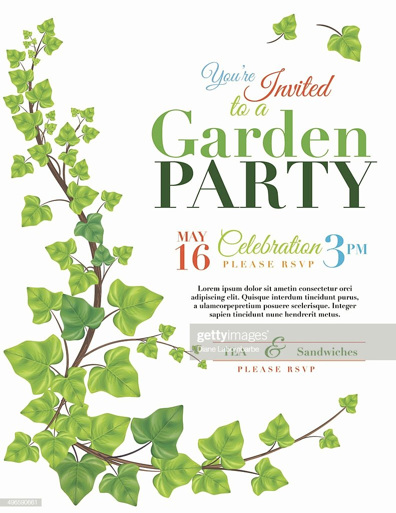 Garden Party Invitation Template Inspirational Ivy Garden Party Invitation Template Stock Vector