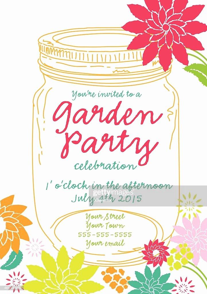Garden Party Invitation Template Luxury orange Canning Jar Spring Garden Party Invitation Design