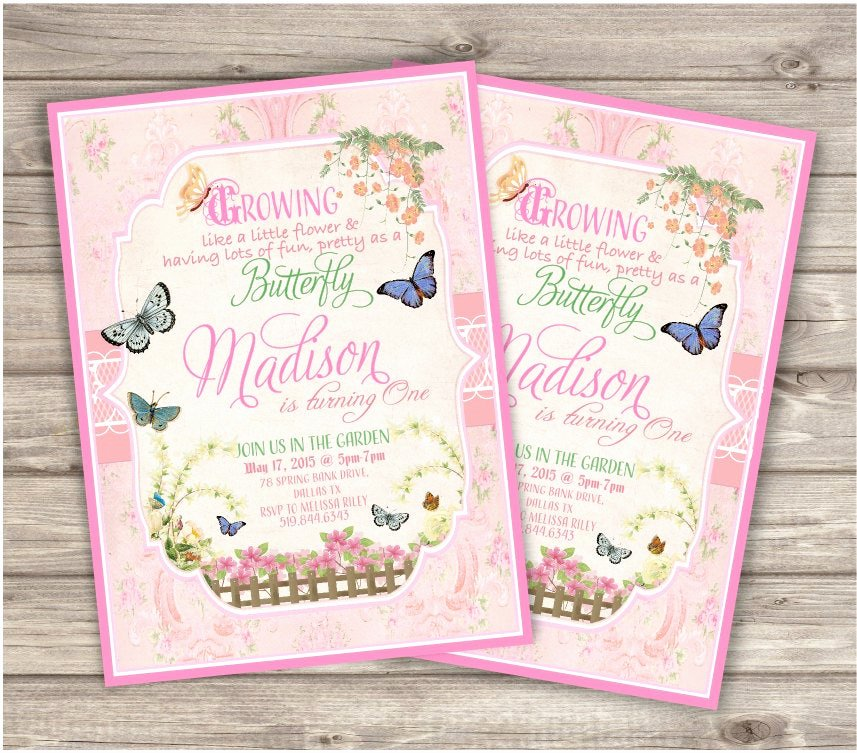 Garden Party Invitation Template Unique butterfly Garden Birthday Invitations Printable First by