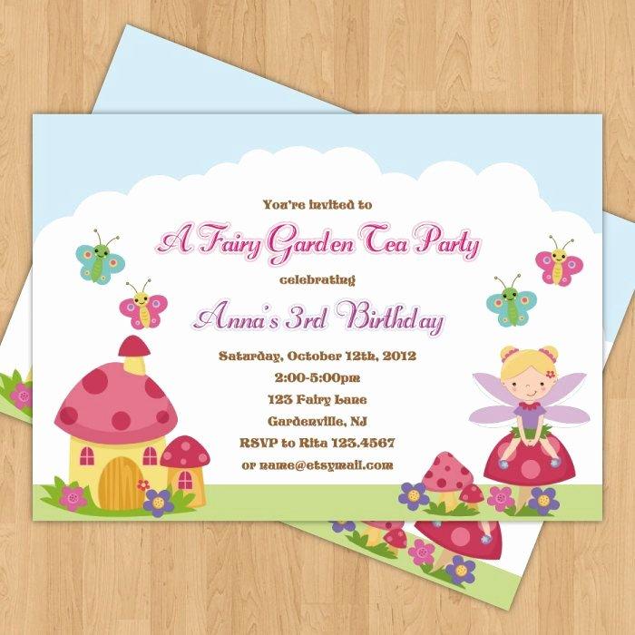 Garden Party Invitation Template Unique Fairy Garden Birthday Party Invitation & Thank You Card