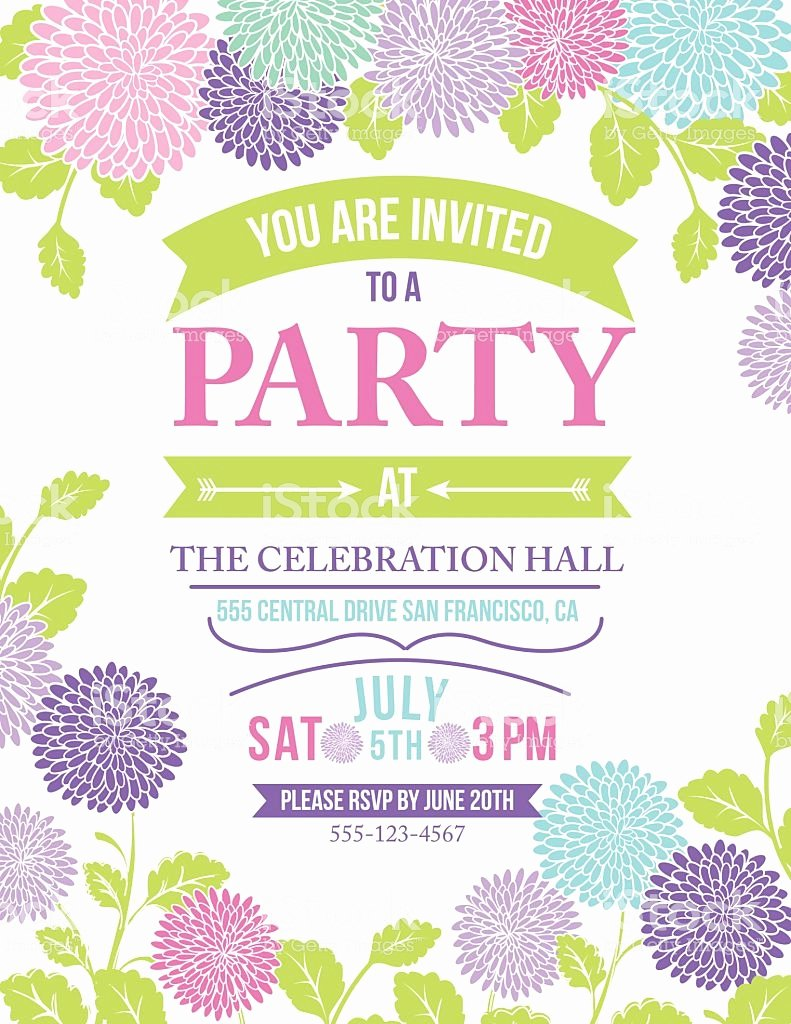 Garden Party Invite Template Fresh Chrysanthemum Flowers Invitation Template for Garden Party