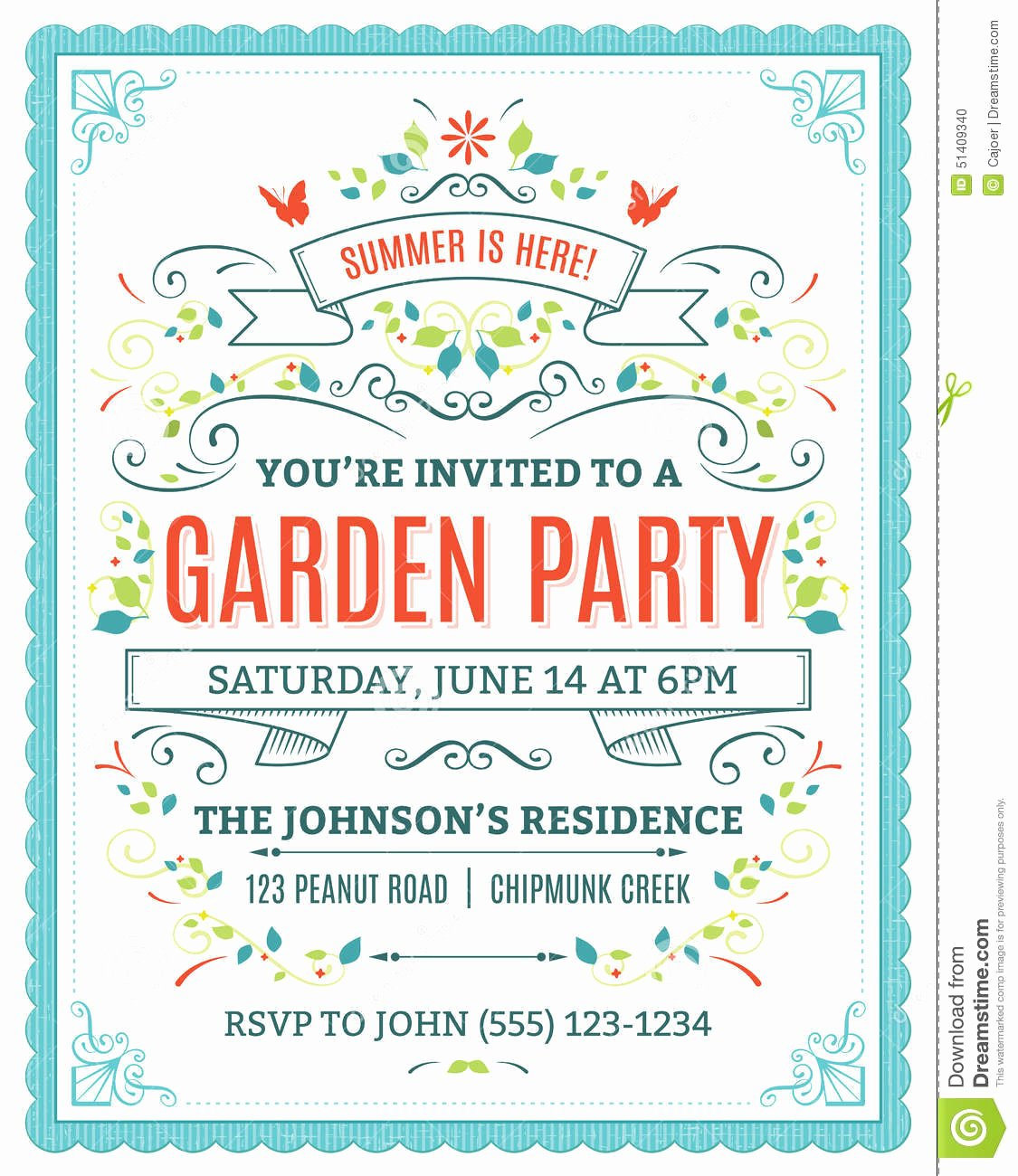 Garden Party Invite Template Inspirational Garden Party Invitation Stock Vector Image