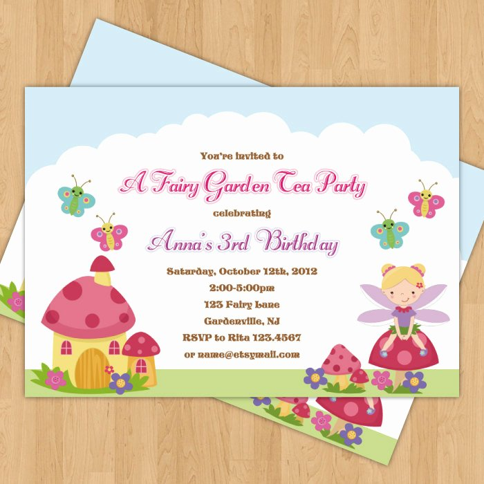 Garden Party Invite Template Lovely Fairy Garden Birthday Party Invitation by