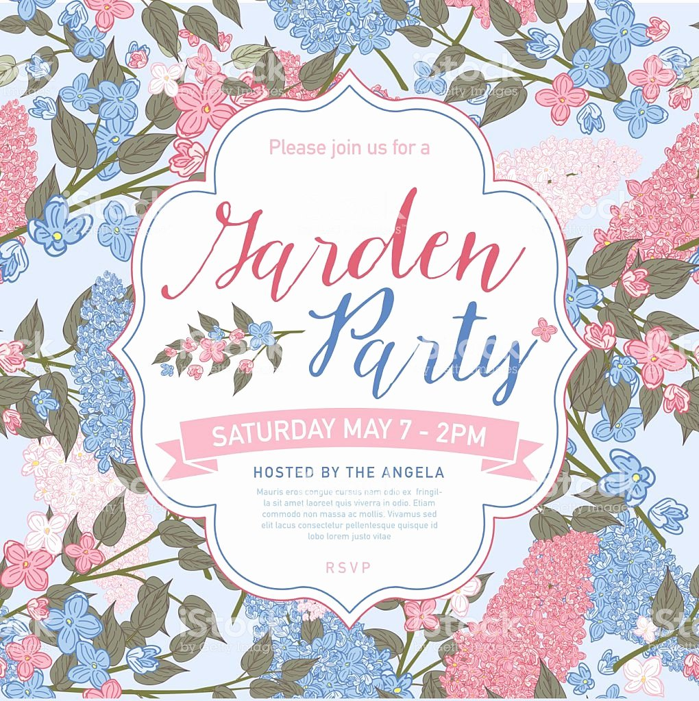 Garden Party Invite Template Lovely Pretty Feminine Pink and Blue Garden Party Invitation