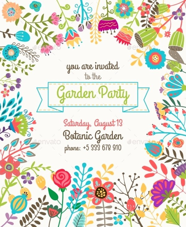 Garden Party Invite Template Luxury 20 Beautiful Summer Party Invitation Designs Psd Ai Word