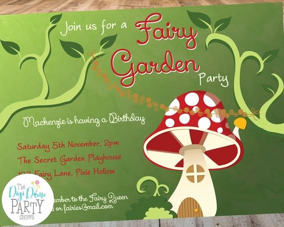 Garden Party Invite Template Luxury Woodland Fairy Garden Party Printable Invitation Template