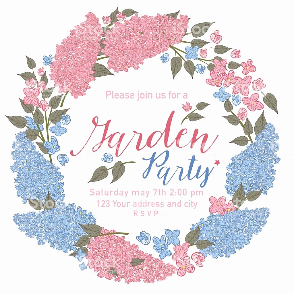 Garden Party Invite Template New Pretty Feminine Pink and Blue Garden Party Invitation