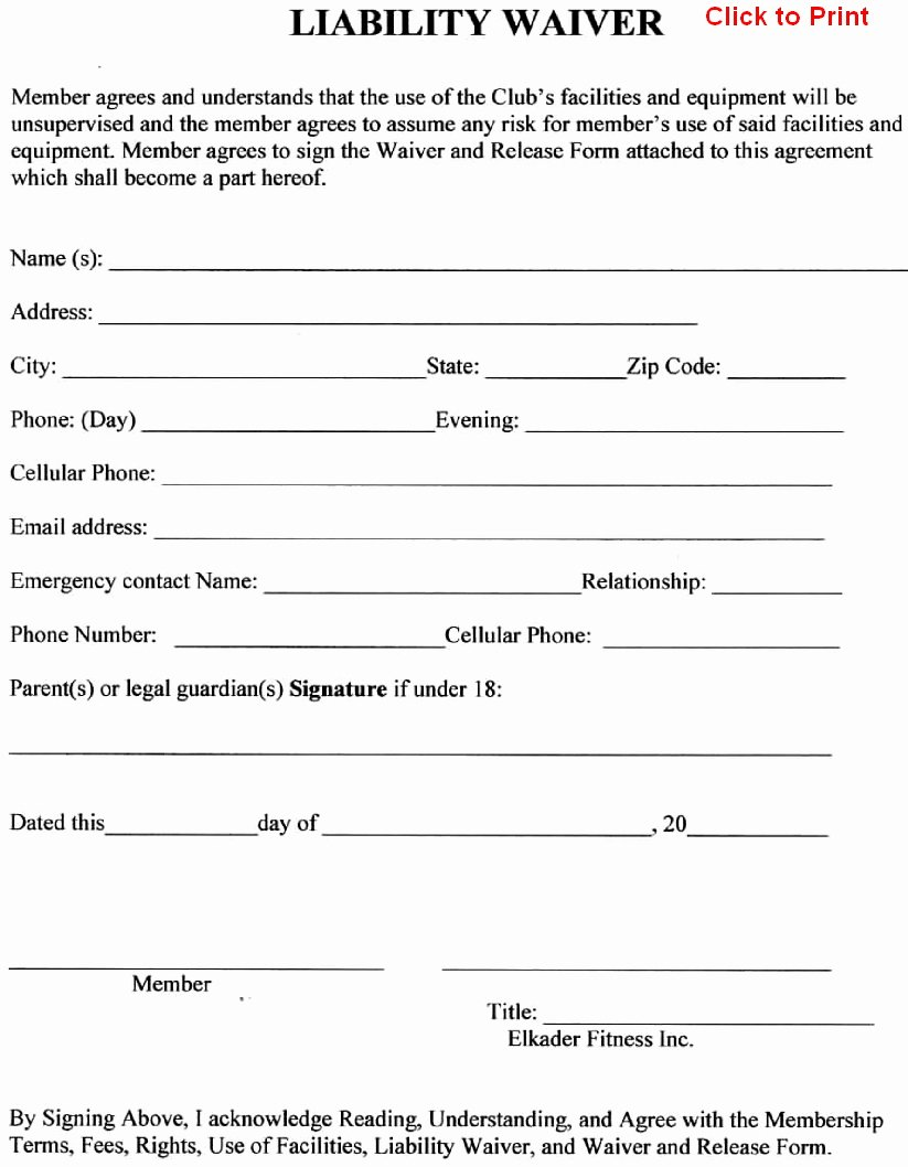 General Liability Waiver form Template Awesome General Liability Release form Free Printable Documents