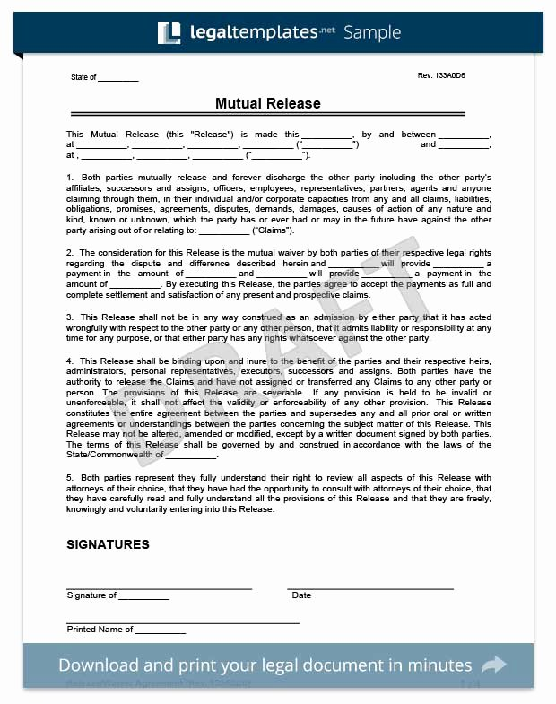 General Liability Waiver form Template Beautiful Free Release Of Liability form