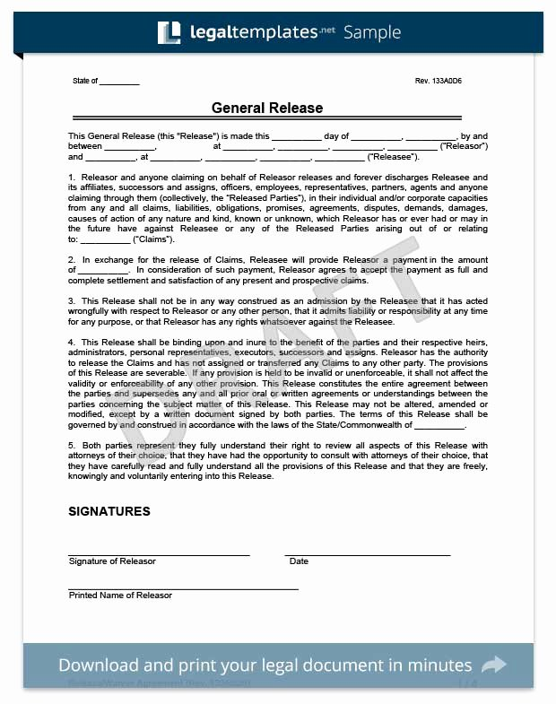 release of liability waiver