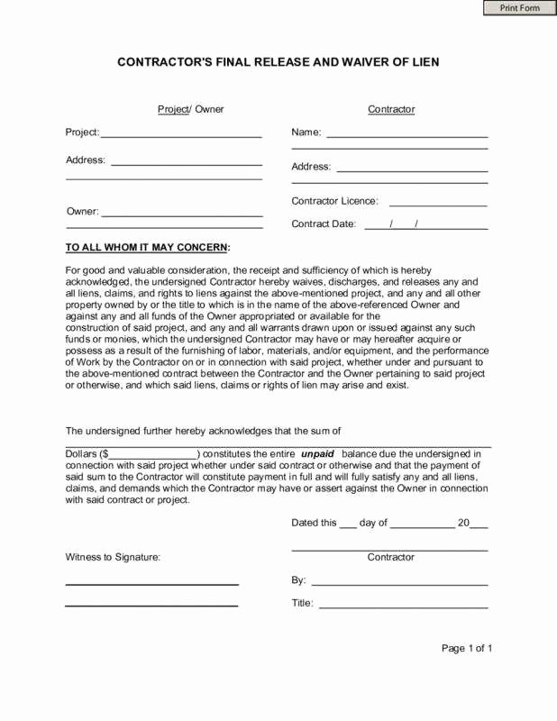 General Liability Waiver form Template Beautiful General Release All Claims Agreement Regular Contractor