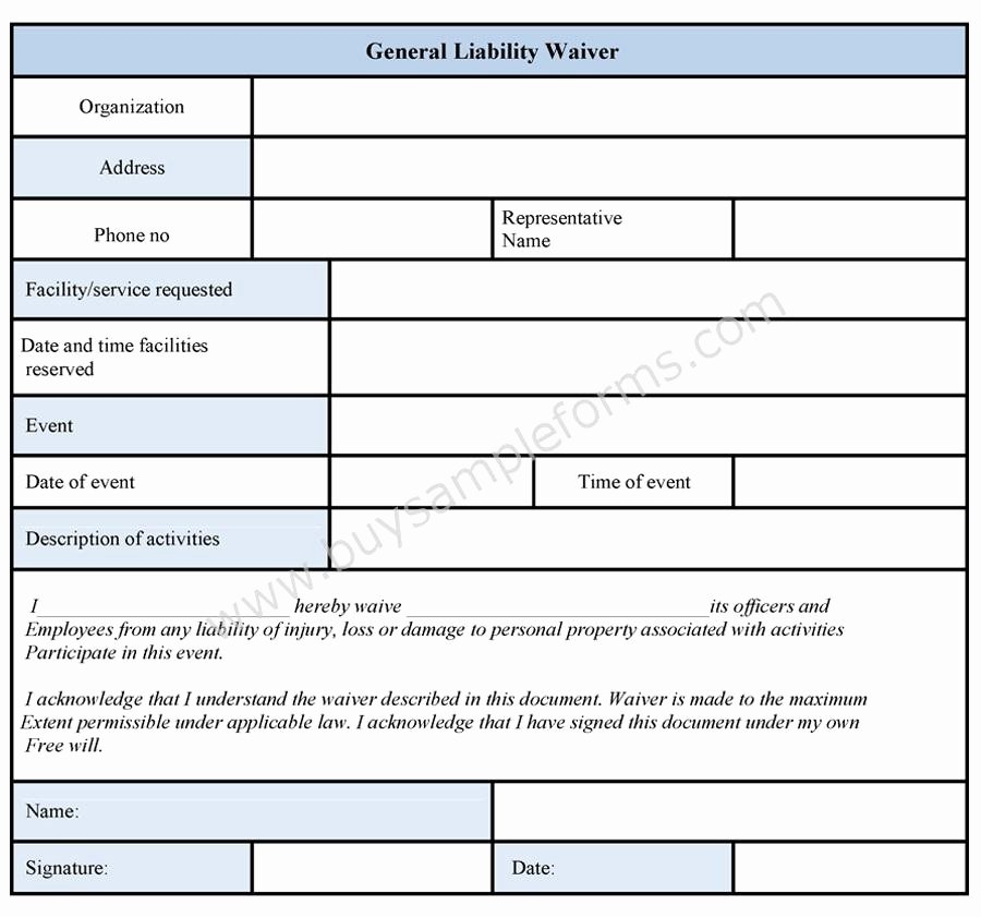 General Liability Waiver form Template Best Of General Liability Waiver form