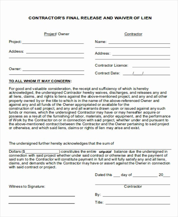 General Liability Waiver form Template Best Of General Release Of Liability form Sample 7 Examples In