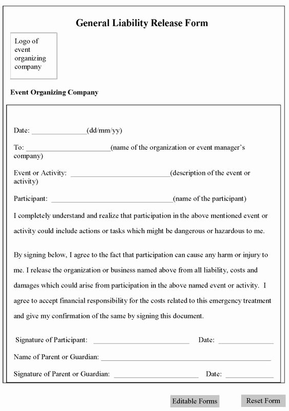 General Liability Waiver form Template Best Of Printable Sample Release and Waiver Liability Agreement
