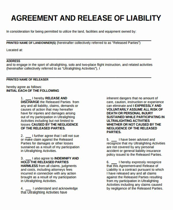 General Liability Waiver form Template Inspirational Sample General Liability Release form 7 Examples In