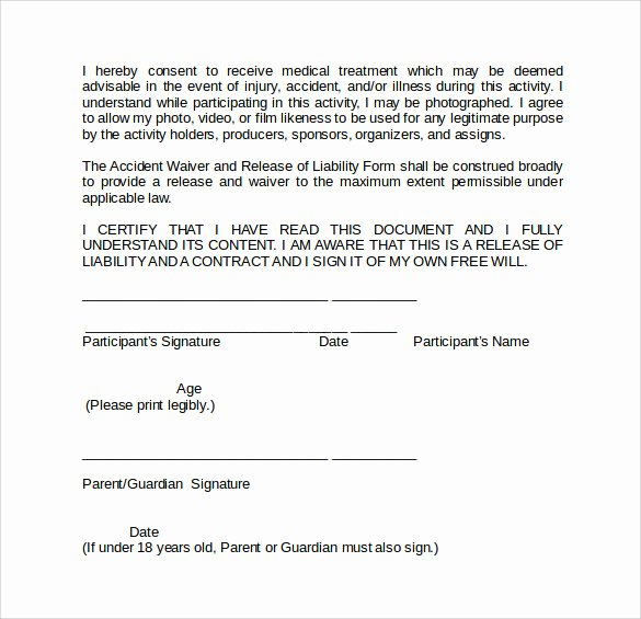 General Liability Waiver form Template Inspirational Sample Liability Waiver form 9 Download Free Documents