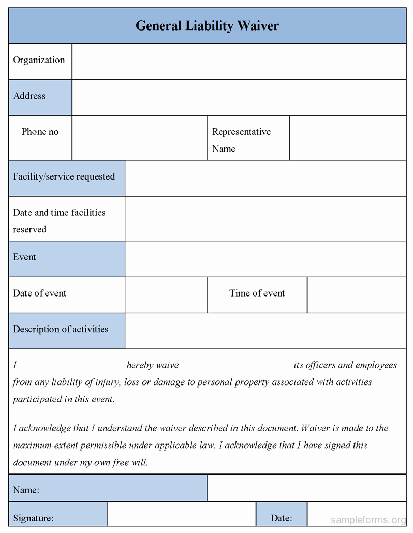 General Liability Waiver form Template Lovely General Liability Waiver form Sample forms