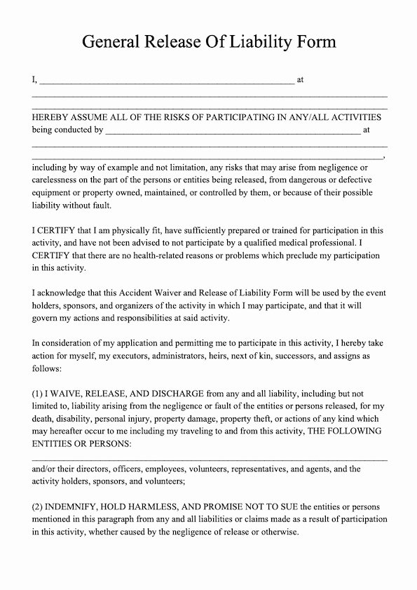General Liability Waiver form Template Luxury Free Release Of Liability form Template