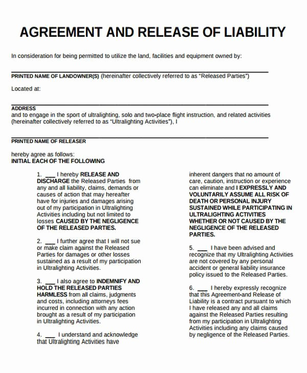 General Liability Waiver form Template New Release Liability form Template