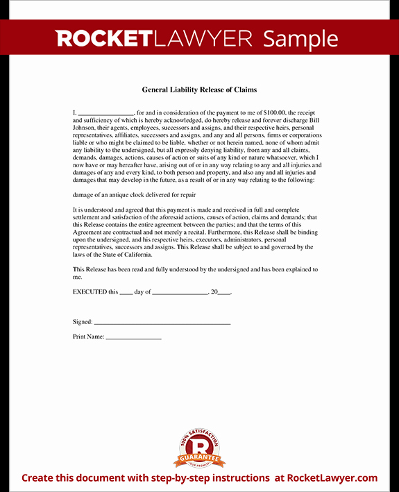 General Liability Waiver form Template Unique General Liability Release Of Claims form